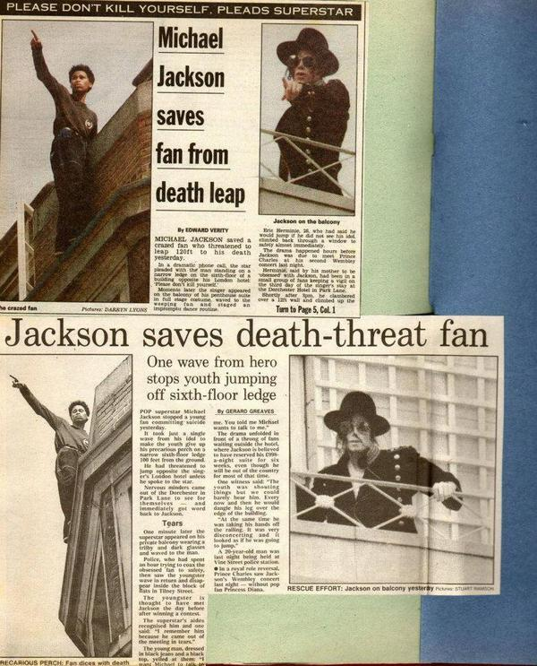 Michael Jackson saves Fan from Death Leap.